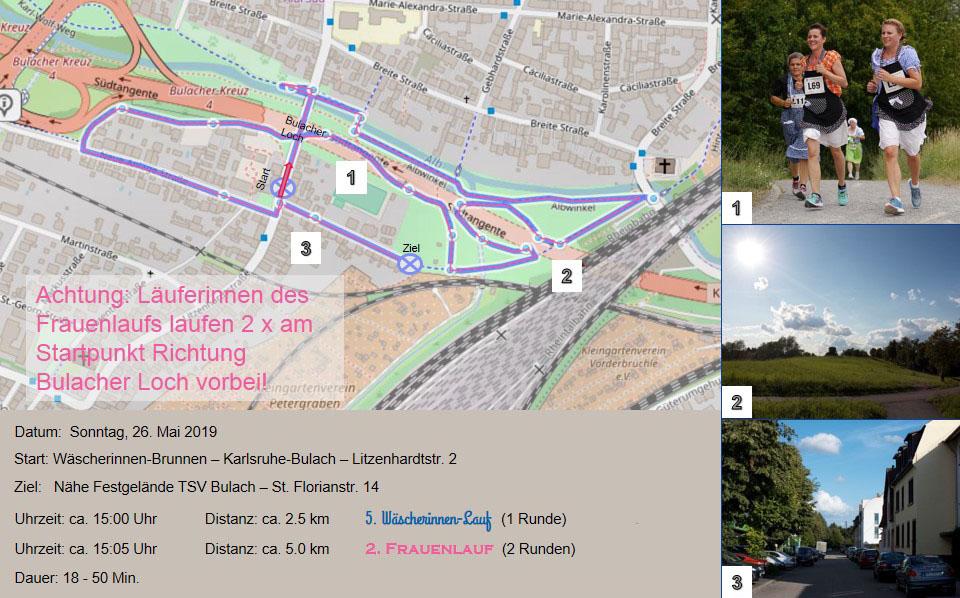 Strecke 5 Wäscherinnen Lauf 2 Frauenlauf Karlsruhe